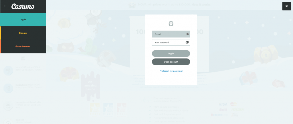 Casumo Login page UK