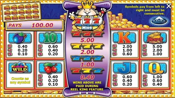 Reel King Paytable